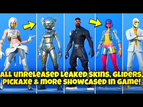 ALL UNRELEASED LEAKED SKINS & COSMETICS SHOWCASED IN GAME! Fortnite BR (BLAZE, NITE GUNNER & MORE)