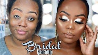 FULL FACE Bridal/Wedding Makeup Tutorial on Dark Skin