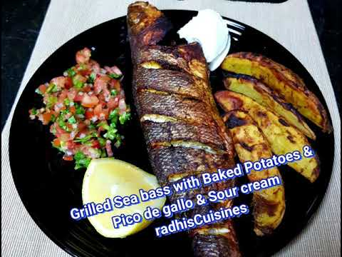 Grilled Sea Bass With Pico De Gallo And Baked Potatoes
