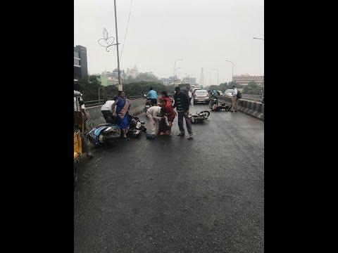 Dangerous Highway Accidents/Skid in Hyderabad .
