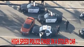 HIGH SPEED POLICE CHASE IN A STOLEN CAR