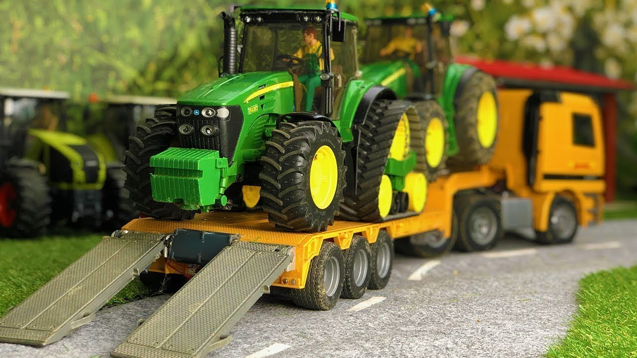 Two Tractors Truck Transport! Bruder Tractor RC pretend play for kids!