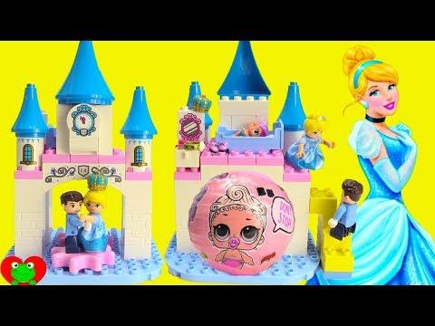 Disney Princess Cinderella's Castle Lego Duplo Build and LOL Doll Surprises