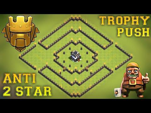 Th9 Trophy Pushing Base 2018 | Anti 2 Star | Defense against HPB, GoHoPe, GiWiPe, LavaLoon, Loonion