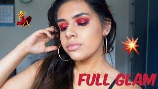 RED GLITTER + FULL GLAM MAKEUP TUTORIAL   MAUMINA