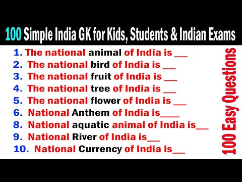 100 Important Simple India GK Quiz General Knowledge GK Questions Answers  INDIA GK | ENGLISH GK -35