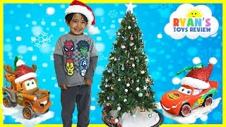 CHRISTMAS TRAIN FOR CHILDREN Decorate the Tree Disney Cars McQueen Surprise Egg Frozen Toys