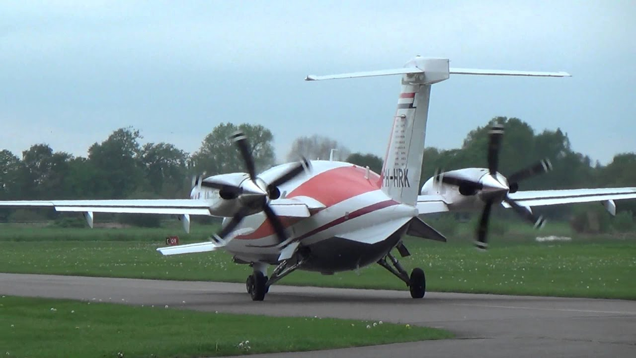 engine start and takeoff ph-hrk piaggio p.180 avanti ii at teuge