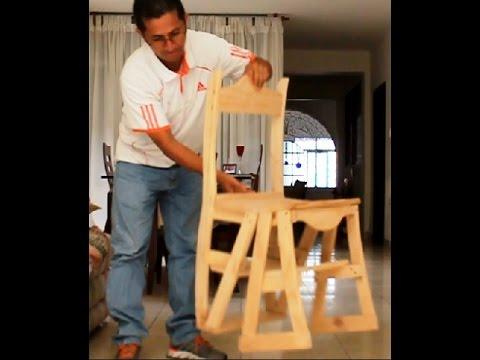 Silla de madera convertible doovi for Silla convertible en escalera