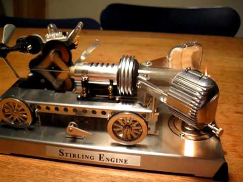 Stirling Engine kit by Gakken powering the fan and a generator connected to a LED