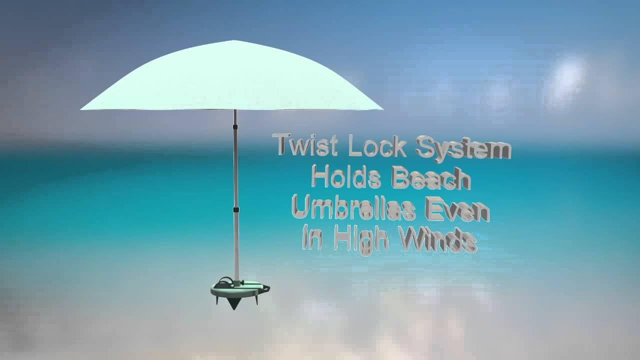 Jack Macfarlane Beach Umbrella With Telescoping Pole And Base Plate