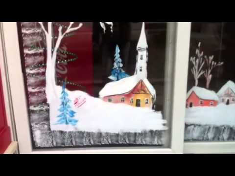 Peinture sur vitrine dessins no l youtube - Decoration de noel fenetre ...