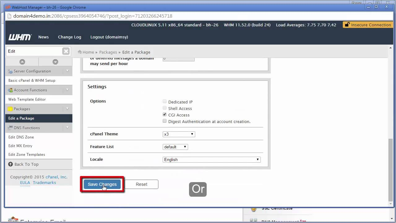 How to Edit or Upgrade a Package in WebHost Manager | ResellerClub Tutorial