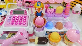 Baby doll IceCream shop and mart cash register toys pororo play 아기인형 아이스크림 가게 마트 계산대 뽀로로 폴리 장난감 -토이몽