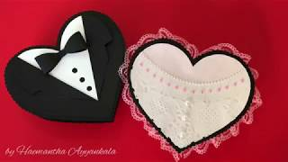 DIY - Valentine's Day gift boxes / How to make heart shape box boy & girl theme