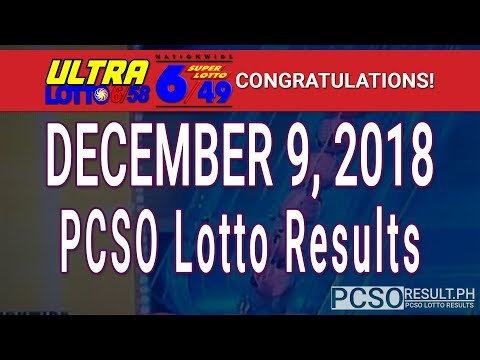 PCSO Lotto Results Today December 9, 2018 (6/58, 6/49, Swertres, STL & EZ2)