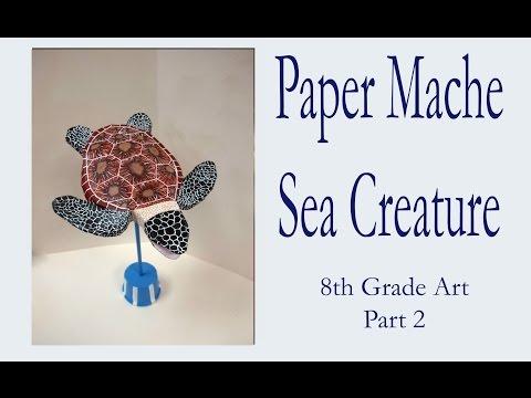 8th Grade Art Paper Mache Fish Sculpture Demo Part 2