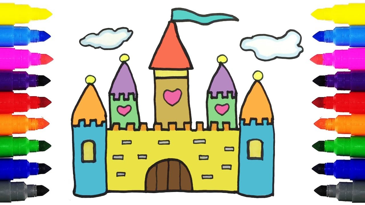 how to draw castle for kids drawing and coloring castle for kids learning colors - Coloring Castle