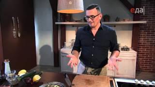 Карпаччо из цукини с лососем и салат из цукини с фетой