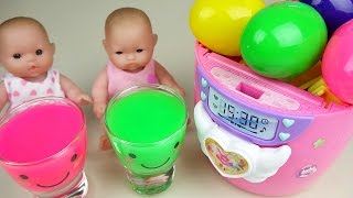 Baby doll and Surprise eggs kitchen toys play with Color slime