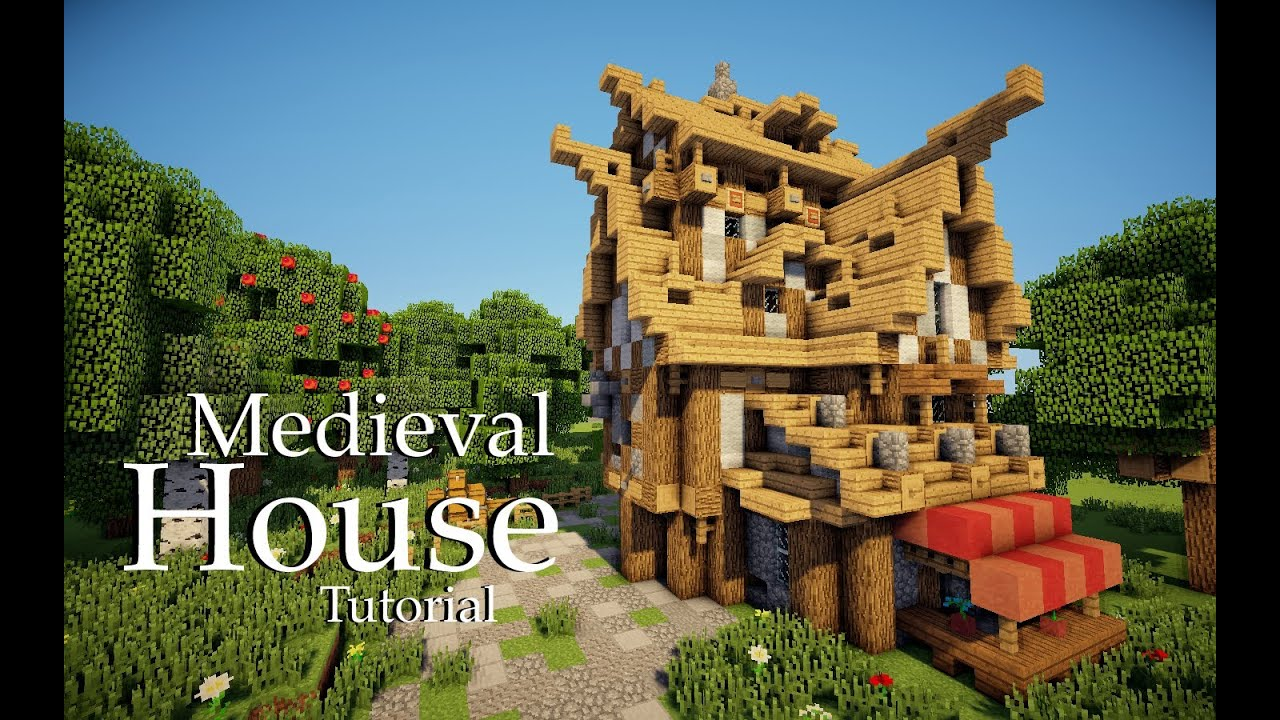Minecraft medieval house tutorial design 4 youtube for Classic house tutorial