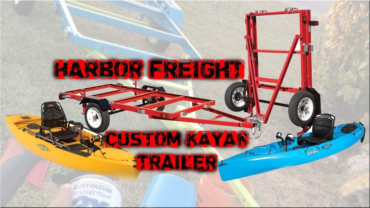 custom harbor freight kayak trailer with pvc bunks part 1 youtube