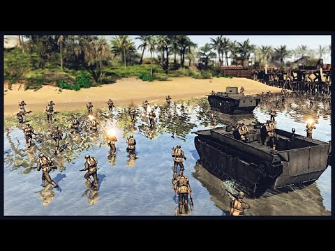 US Marine Corps LVT Beach Assault - Allied Invasion of Tulagi | Men of War Assault Squad 2 Gameplay