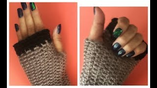 Guantes Sin Dedos o Mitones Tejidos A Crochet (Nivel Principiantes) Crochet Fingerless Mitten Gloves