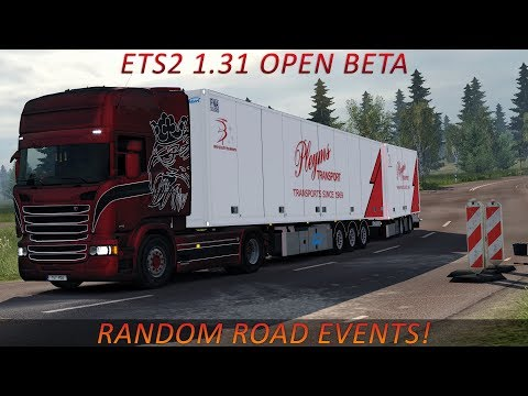 ETS2 1.31 - Scania V8 - Scandinavian Ekeri Trailer - Random Road Events - Open Beta - Realistic