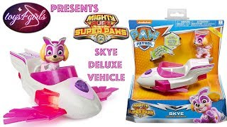 Paw Patrol Mighty Pups Super Paws Skye Deluxe Vehicle unboxing video