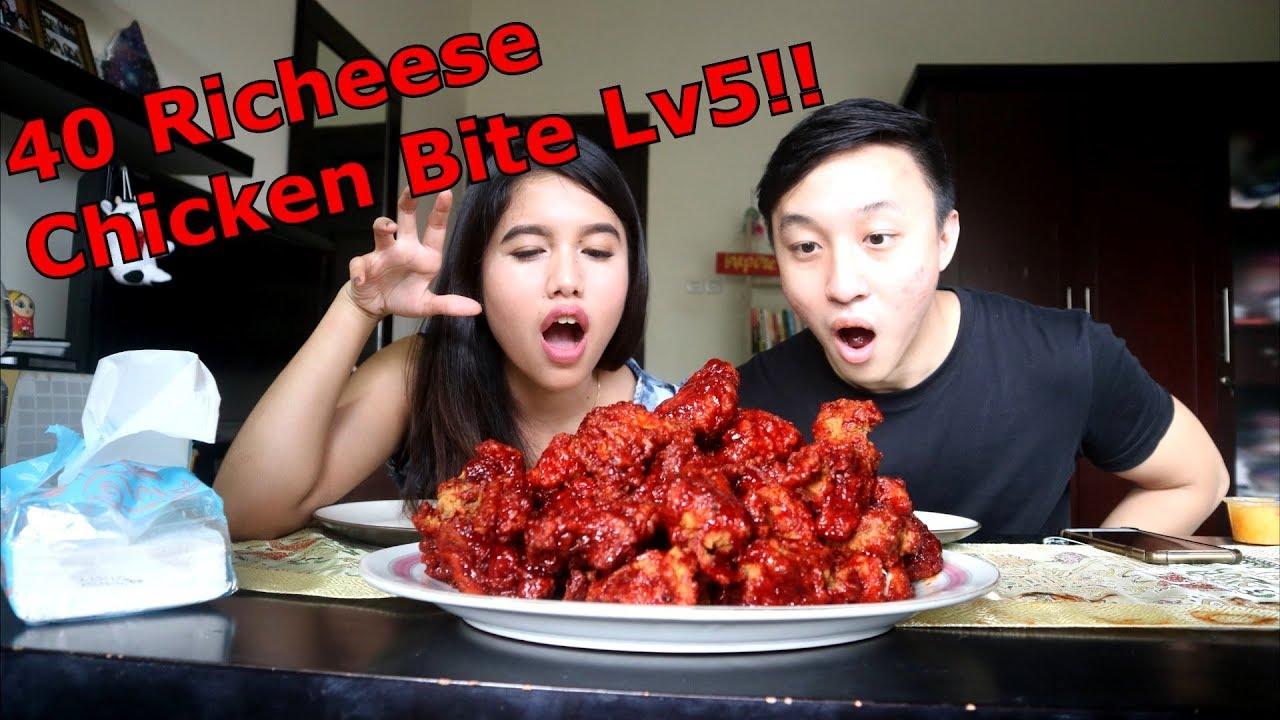 40pcs Richeese Fire Chicken Bite Lv5 Mukbang Challenge Ft Shely