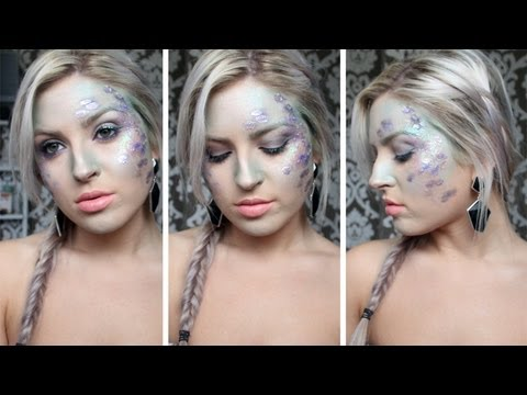 Mermaid Makeup Tutorial ♡ Halloween, Glitter - YouTube