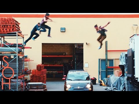 Parkour & Freerunning Stunts on Moving Cars! - Midnight Mayhem #Parkour Drive