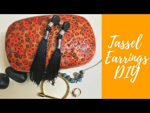 Black Tassel Earrings - DIY