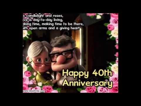 Happy 40th Wedding Anniversary Greetings Card