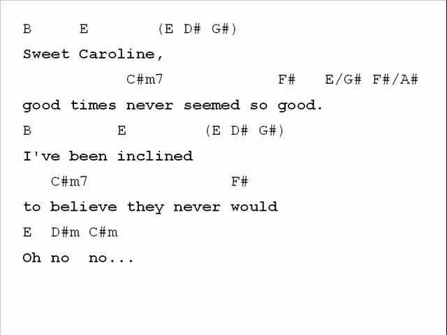 Neil Diamond Sweet Caroline Chord Chart Chords Chordify