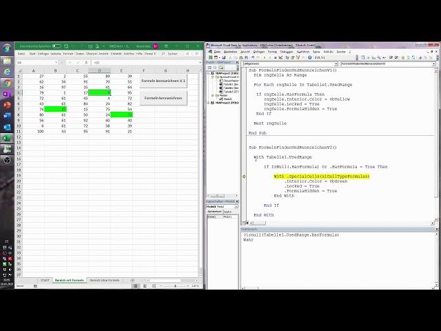 123. Excel-VBA: Formeln und Verknüpfungen in Tabellen lokalisieren und kennzeichnen