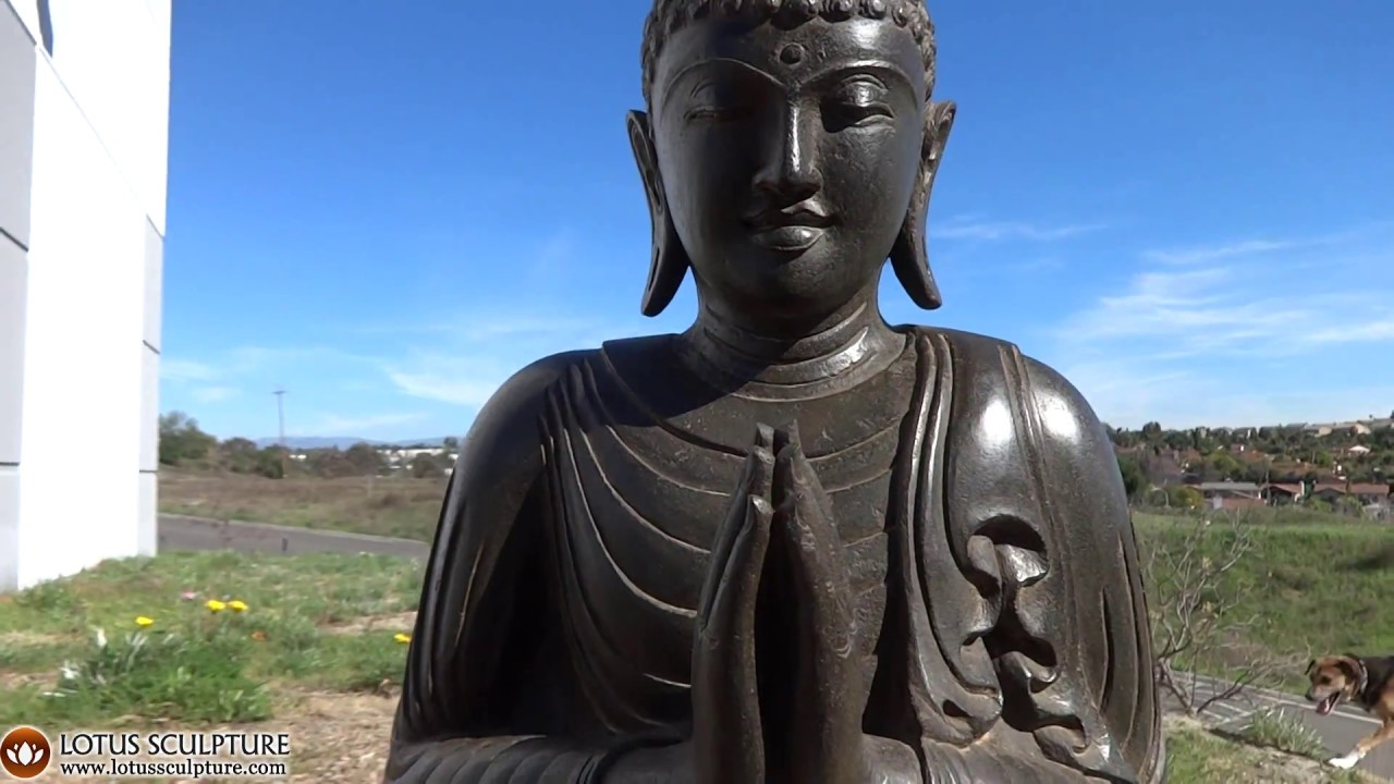 Namaste Mudra Stone Garden Buddha Statue Lotussculpture