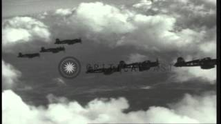 US Navy F4U Corsair aircraft flying in formation over the Pacific Ocean HD Stock Footage