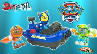 Jouet Pat Patrouille Sea Patrol Chase Patrouilleur des Mers Zuma Rocky Paw Patrol Toy Review Kids