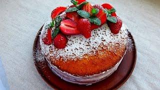 Бисквитный торт. Простой и вкусный рецепт. Бисквитный Торт с Клубникой . Торт с  Клубникой Рецепт.