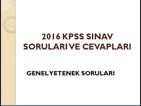 2016 KPSS Genel Yetenek Sınav Soruları Ve Cevapları Ortaöğretim