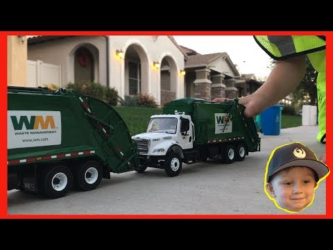 Roman's Waste Management Toy Garbage Truck Play Day | Video For Children