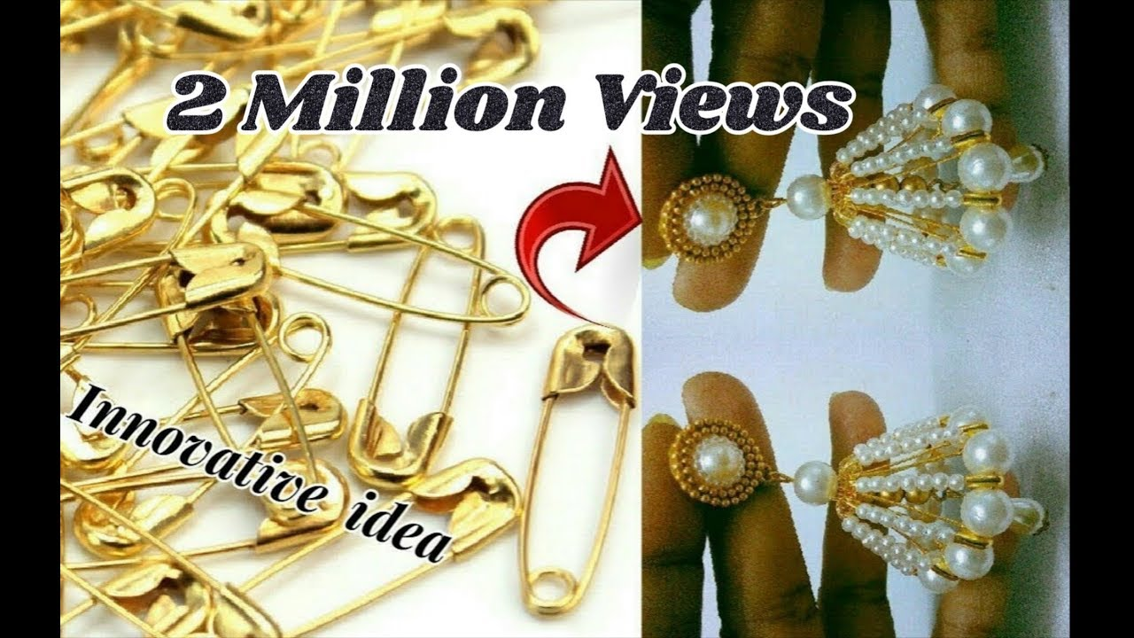 Innovative idea with safety pins | jhumkas making with safety pins ...