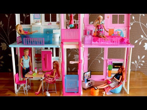 Thumbnail: Barbie Dolls Living room Barbie Kitchen Dollhouse Furniture set and Barbie Dreamhouse 芭比豪宅