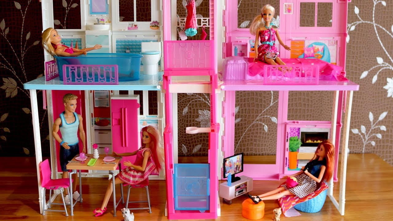 Barbie Bedroom In A Box: Barbie Dolls Living Room Barbie Kitchen Dollhouse