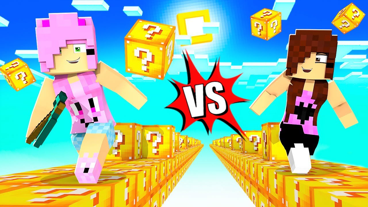 Minecraft Lucky Block - COMPETIÇÃO FILHA vs MÃE