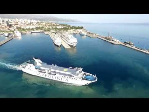 Cro Drone chasing cruise and ferry at Split harbour