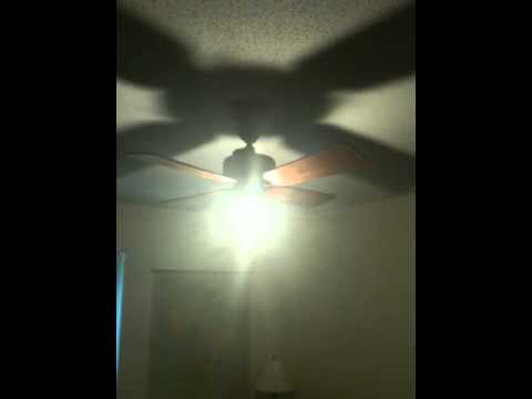 CREE LED light bulb in antique Emerson ceiling fan - CREE LED Light Bulb In Antique Emerson Ceiling Fan - YouTube