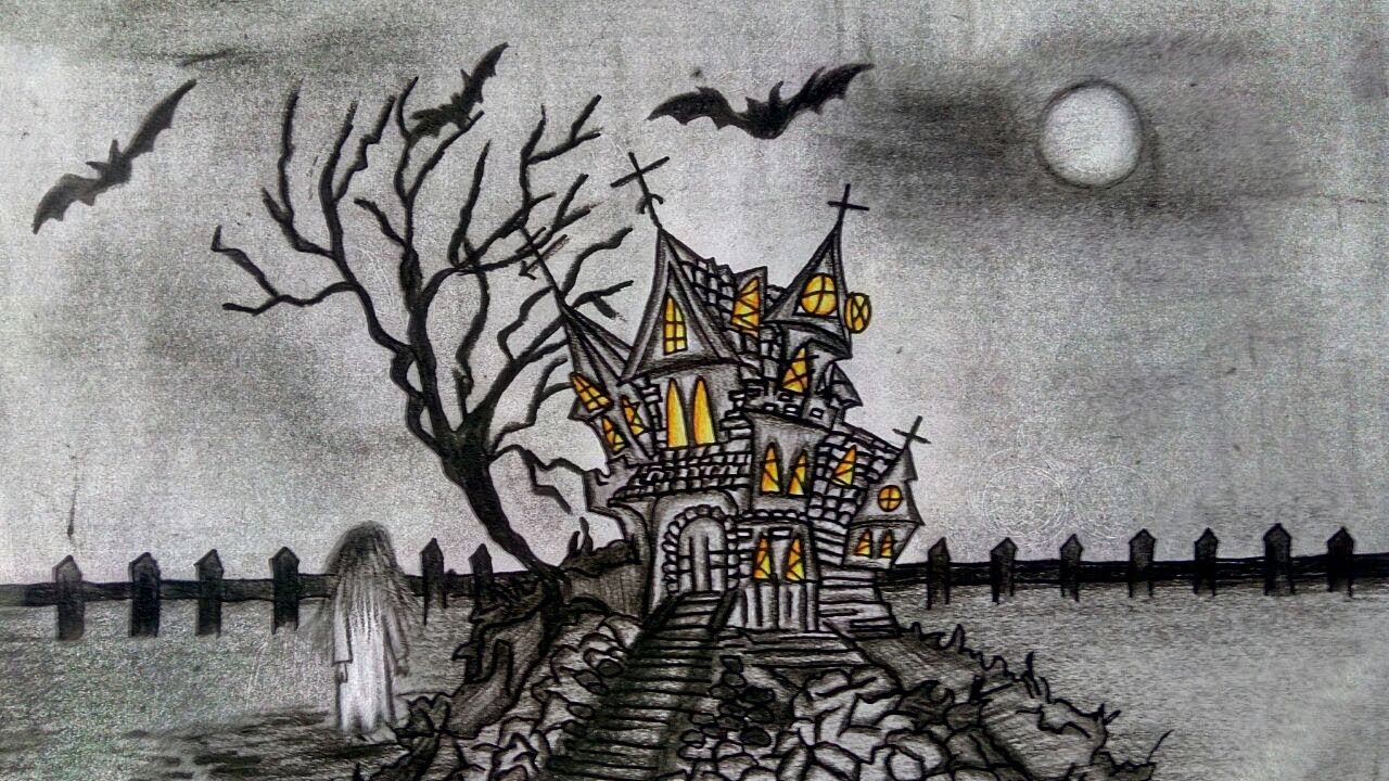 Haunted House Drawing How To Draw A Haunted House Halloween